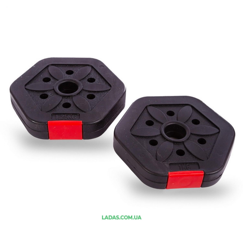 Гантели разборные (2шт) пластиковые 10кг (2 шт. по 5 кг)+ удлинитель для штанги