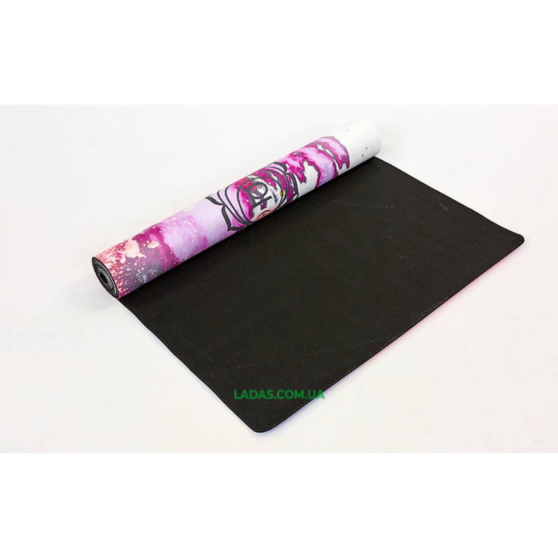 Коврик для йоги и фитнеса замшево-каучуковый двухслойный (1,83мx0,61мx3мм, принт Чакры)