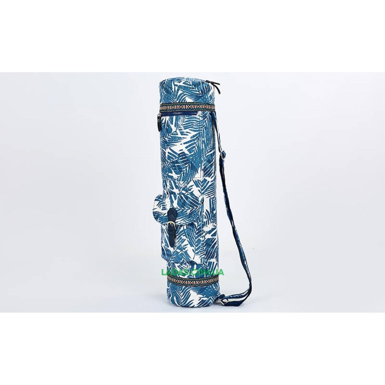 Сумка для йога коврика Yoga bag FODOKO (р-р 16х70см, бело-синий)