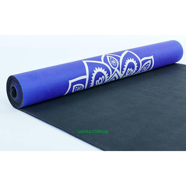 Коврик для йоги Замшевый каучуковый двухслойный 3мм Record (размер 1,83мx0,61мx3мм, синий цветочный)