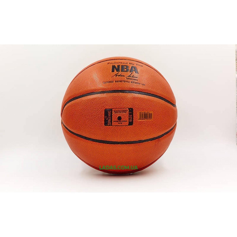 Мяч баскетбольный PU №7 SPALD NBA SILVER (PU, бутил, оранжевый)