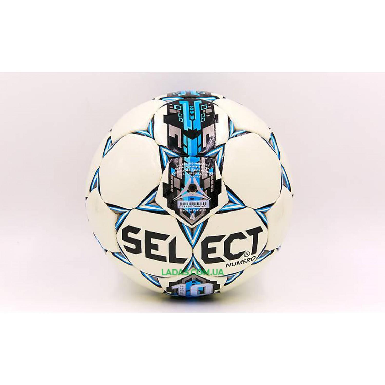Мяч футбольный №4 PU ламинированный ST NUMERO 10 REPLICA (бело-синий, сшит вручную)