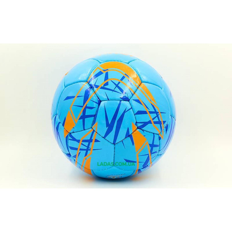 Мяч футбольный №5 PU ламинированный MITER (синий, сшит вручную)