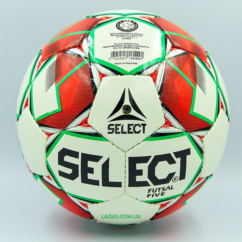 Мяч для футзала №4 ламинированный ST FIVE (красно-белый, сшит вручную)