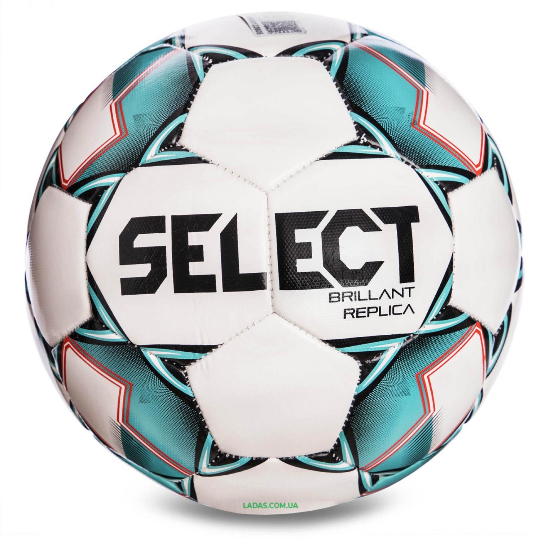 Мяч футбольный №4 SELECT BRILLANT REPLICA NEW (PVC 1000, бело-зеленый)