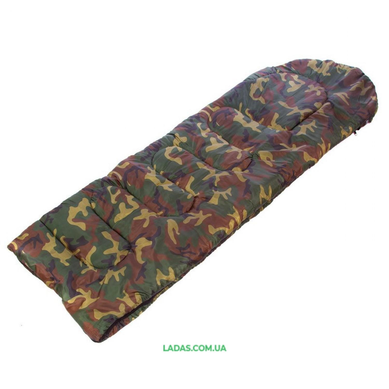 Спальный мешок одеяло с капюшоном камуфляж SY-4062 (PL,хлопок, 500г на м2,р-р 168+32х70см, t+10 до -10)