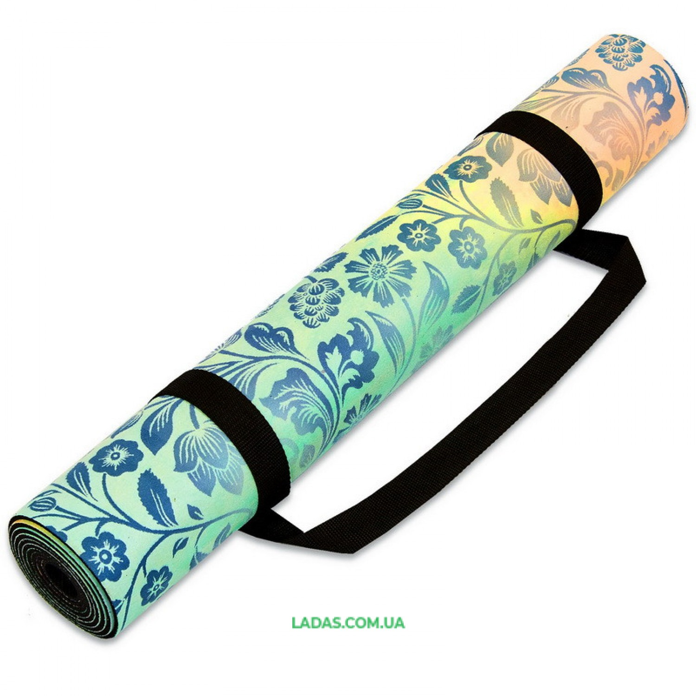 Коврик для йоги и фитнеса замшево-каучуковый двухслойный (1,83мx0,61мx3мм, бирюзовый)