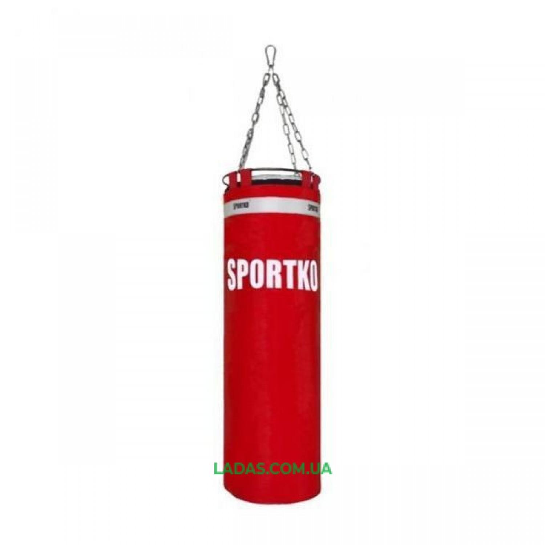 Мешок боксерский Цилиндр с кольцом и цепью ПВХ SPORTKO (h-150см, d-30см, 40кг)