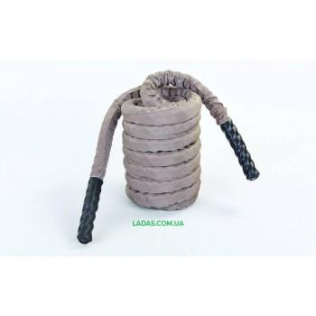 Канат для кроссфита в защитном рукаве BATTLE ROPE (9м, 3,8см, серый)