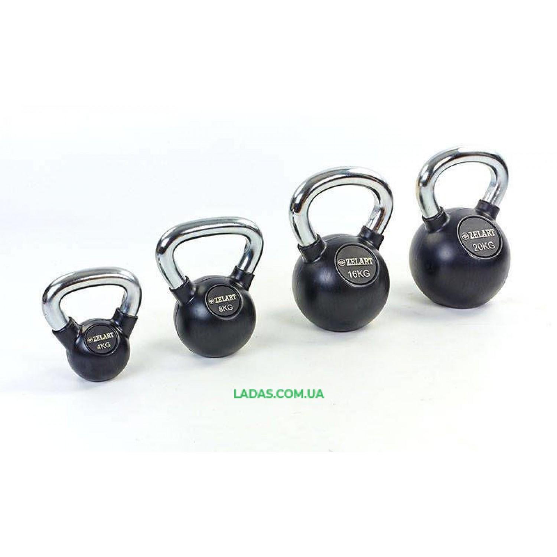 Гиря обрезиненная с хромированной ручкой Кроссфит 24кг (металл хромированный, черный)