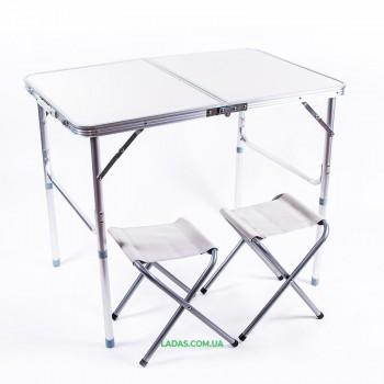 Стол туристический и 2 стула (пластик, 90*60*70/52 см)