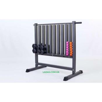 Подставка под гантели для фитнеса на 80 шт (металл, р-р 107х68х105см)
