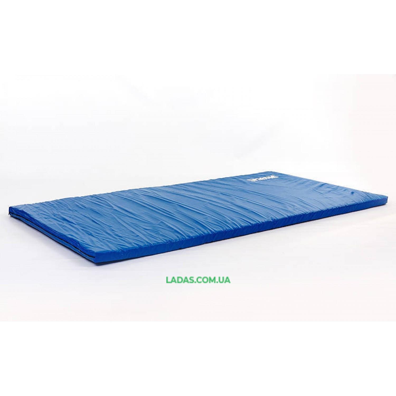 Мат спортивный Кожвинил 2x1м x 6см UR SPORTKO (наполнитель-поролон,на молнии,синий)