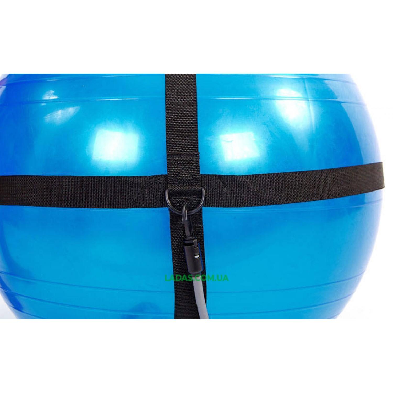 Мяч для фитнеса (фитбол) глянцевый с эспандерами и ремнем (65см, 1100г, ABS)