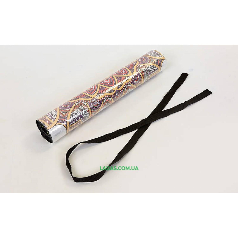 Коврик для йоги и фитнеса замшево-каучуковый двухслойный (1,83мx0,61мx3мм, Спокойствие лотоса)