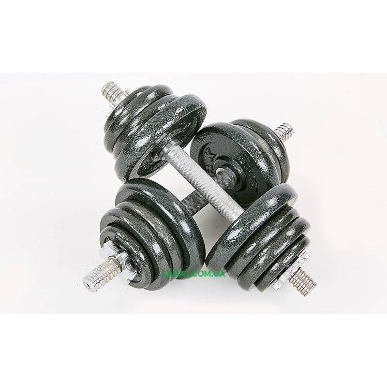 Гантели разборные (2шт) стальные 25кг (2 грифа l-30см)