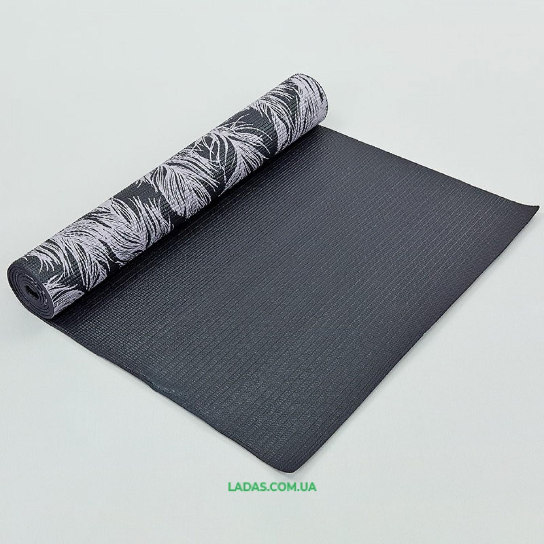Коврик для йоги и фитнеса PVC двухслойный 4мм FEATHER(размер 173смx61смx4мм)