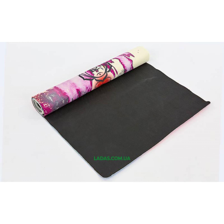 Коврик для йоги Джутовый (Yoga mat) двухслойный (1,83мx0,61мx3мм, джут, каучук, с принтом Чакры)