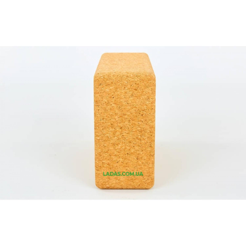 Блок для йоги пробковый FI-0831 (пробковое дерево, 400гр, р-р 24x16,5x9см)