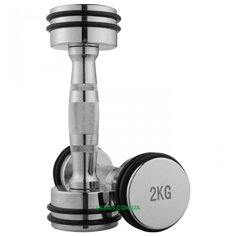 Гантели хромированные с резиновыми кольцами (2x2кг)