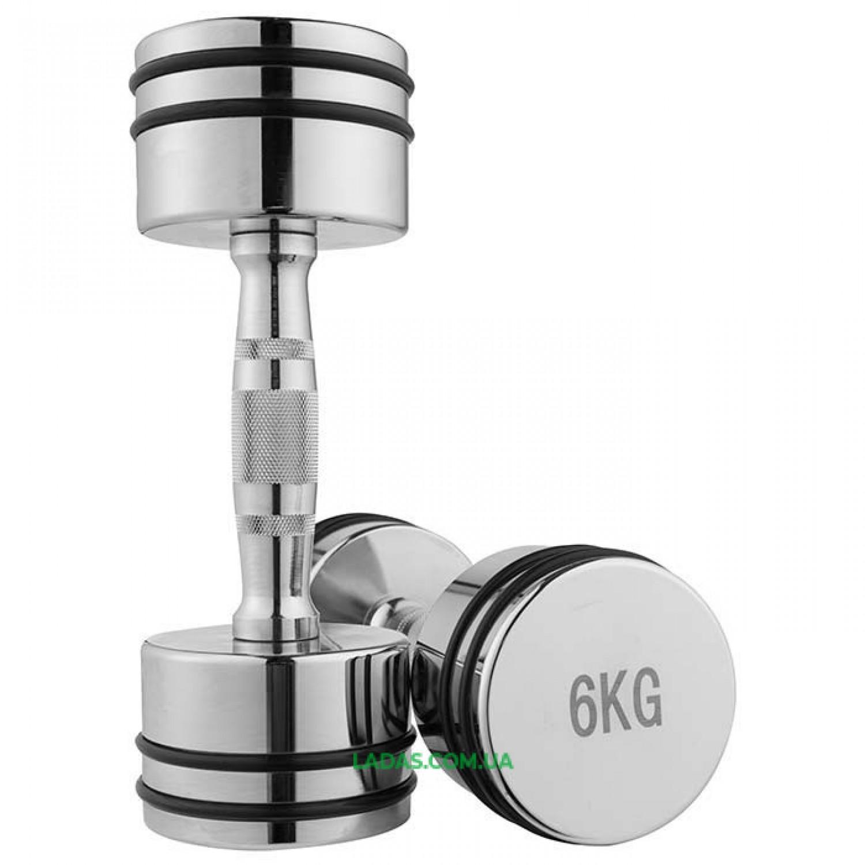 Гантели хромированные с резиновыми кольцами (2x6кг)