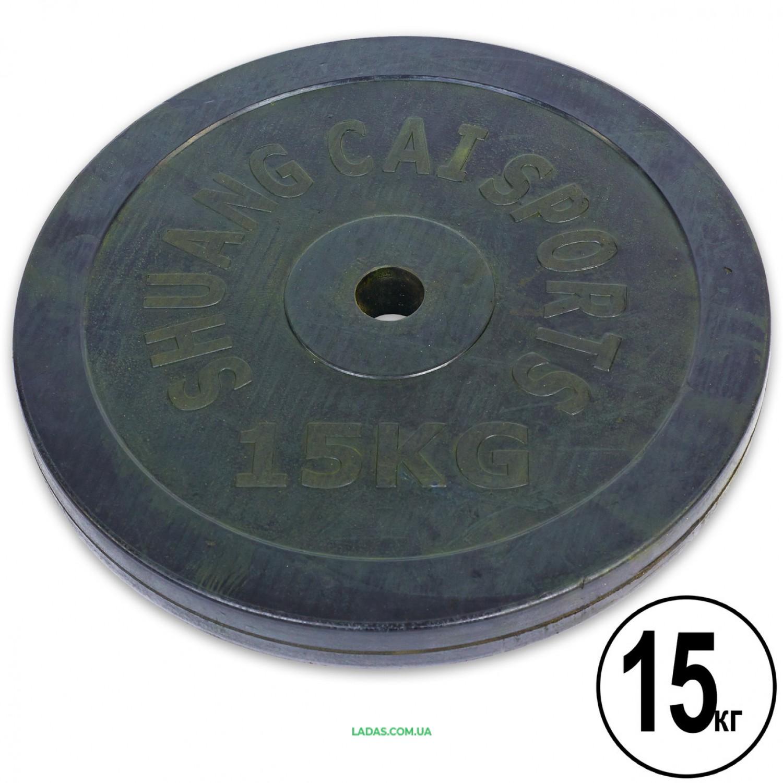 Блины (диски) 15кг обрезиненные d-30мм (1шт*15 кг)