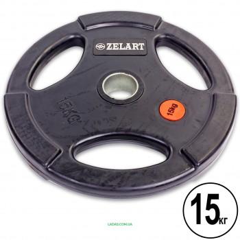 Блины (диски) обрезиненные с тройным хватом и метал. втулкой d-51мм (1шт*15 кг)