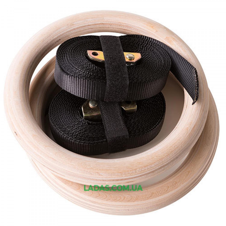 Кольца для кроссфита гимнастические (лента 3 м, кольца 24 см, дерево)