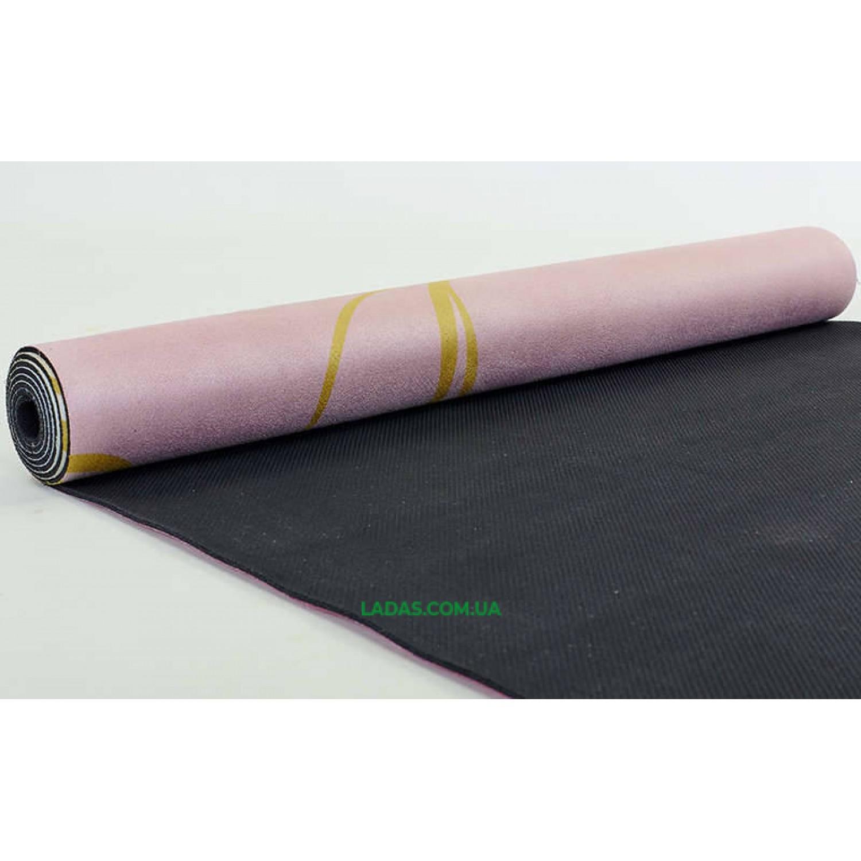 Коврик для йоги и фитнеса замшево-каучуковый двухслойный (1,83мx0,61мx3мм, Индийский лотос)