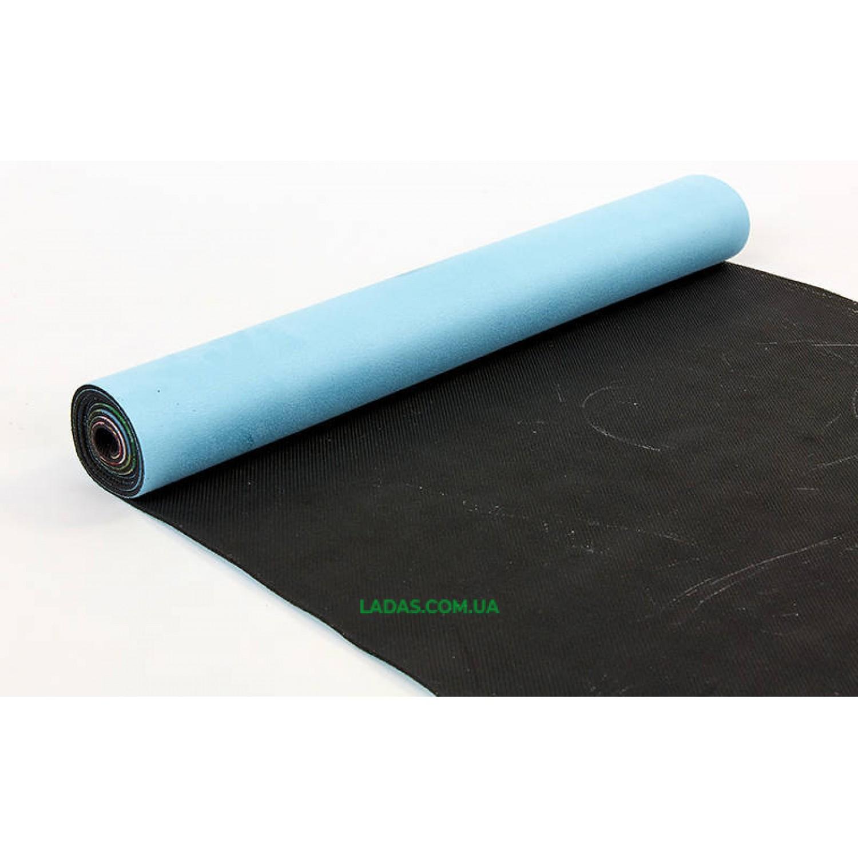 Коврик для йоги и фитнеса замшево-каучуковый двухслойный (1,83мx0,61мx3мм, голубой)