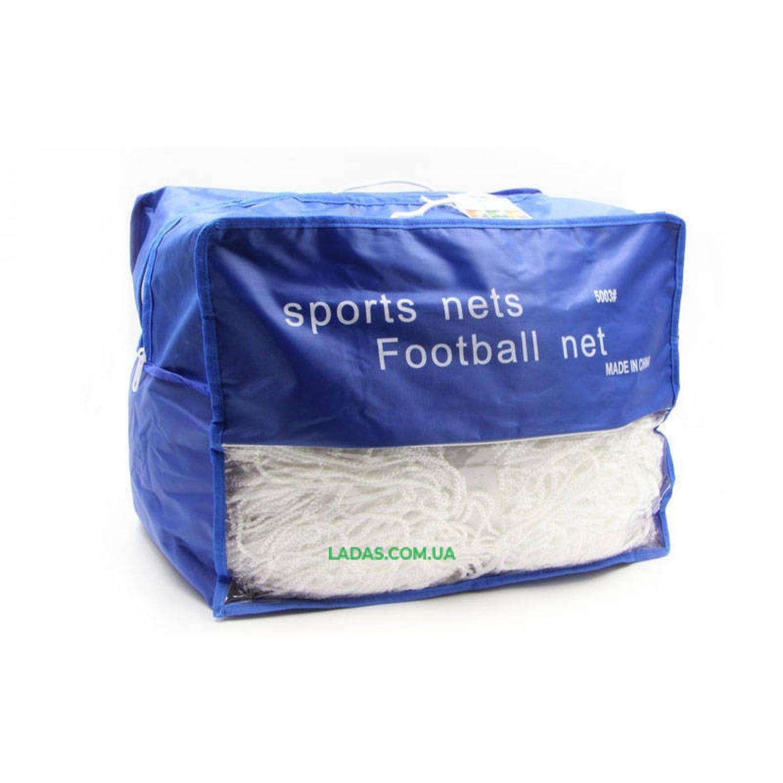 Сетка на ворота футбольные тренировочная безузловая (2шт) (нить 2,5мм, ячейка 7,5см, р-р 7,4*2,5*2м)