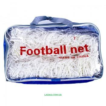 Сетка на ворота футбольные любительская узловая (2шт) (нить 2,5мм, ячейка 12x12см, р-р 5,5*2,44 м)