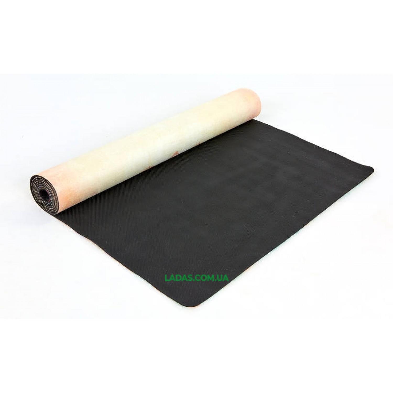 Коврик для йоги и фитнеса замшево-каучуковый двухслойный (1,83мx0,61мx3мм, принт Слон и сад)