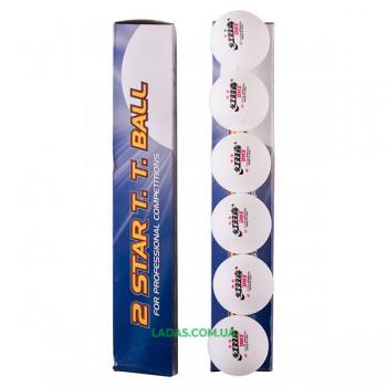Шарики для настольного тенниса DHS 2* белый 6шт D-26