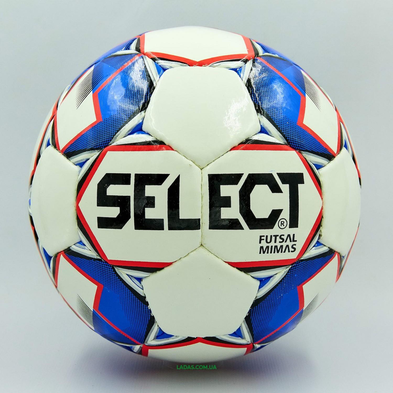 Мяч для футзала №4 ламинированный ST MIMAS (бело-синий, сшит вручную)