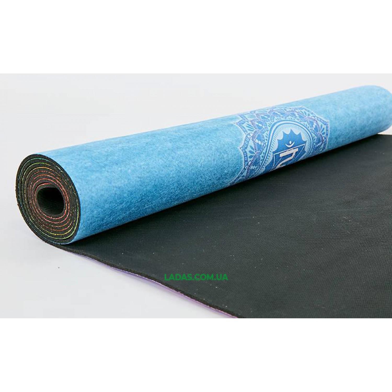 Коврик для йоги Замшевый каучуковый двухслойный 3мм Record FI-5662-44(1,83мx0,61мx3мм, радужный)