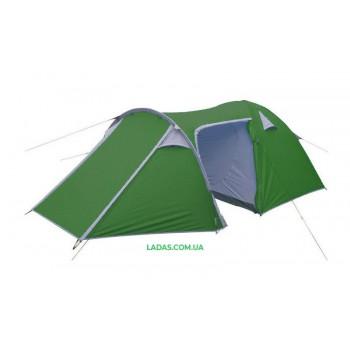 Палатка кемпинговая 4-х местная с тентом и тамбуром VENICE (р-р 2,1x(1,2+0,9+2,4)х1,3м)