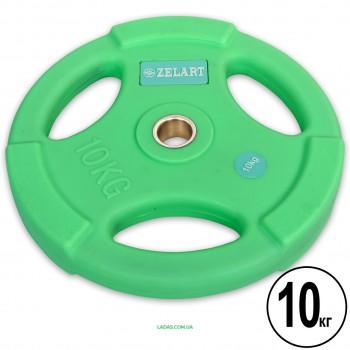 Блины (диски) полиуретановые с хватом и металлической втулкой d-28мм (1шт*10кг)