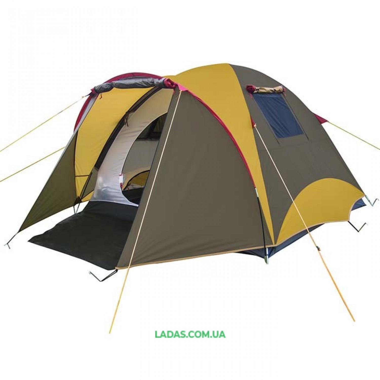 Палатка 3-х местная Mimir Х-11650А(р-р 310 (210+100) х 210 х 150,вес: 5кг.,песочный/ коричневый)