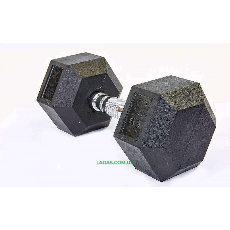 Гантель шестигранная гексагональная хромированная (1шт, вес 15кг)