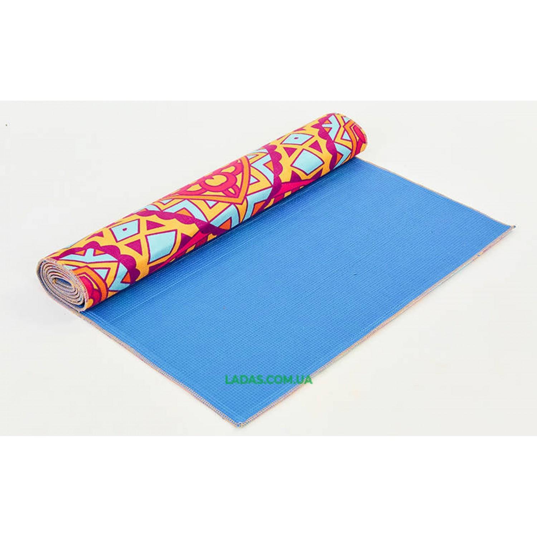 Коврик для йоги и фитнеса замшевый (р-р 173*61*0,3см, PVC+замша)