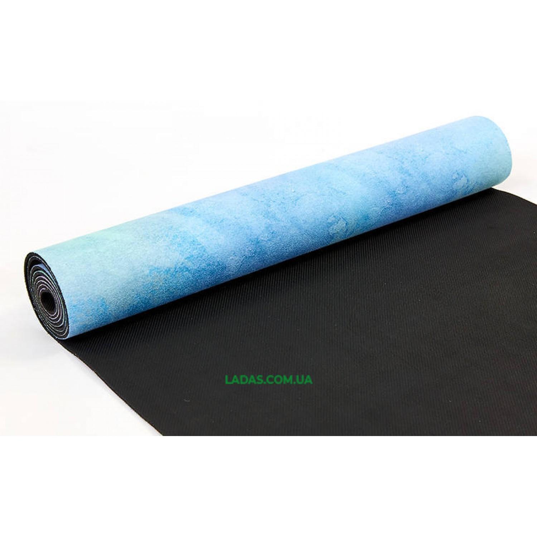 Коврик для йоги и фитнеса замшево-каучуковый двухслойный (1,83мx0,61мx3мм, розово-голубой)