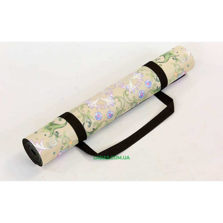 Коврик для йоги и фитнеса замшево-каучуковый двухслойный (1,83мx0,61мx3мм, бежевый)
