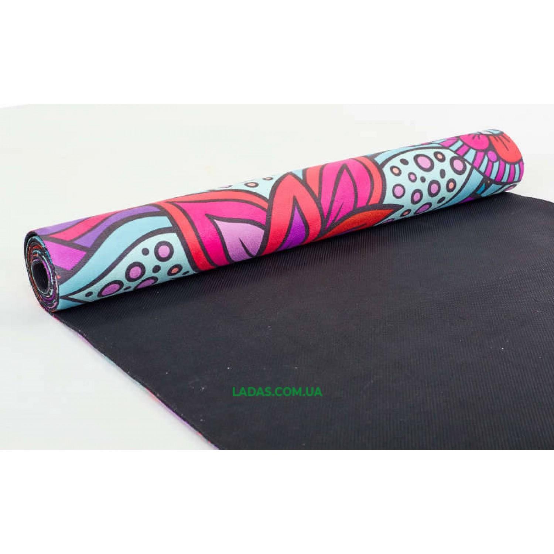 Коврик для йоги и фитнеса замшево-каучуковый двухслойный (1,83мx0,61мx3мм, мультиколор)