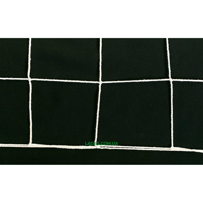 Сетка на ворота футбольные тренировочная узловая (2шт) (нить 2,5мм, ячейка 12x12см, р-р 7,4*2,5*2 м)