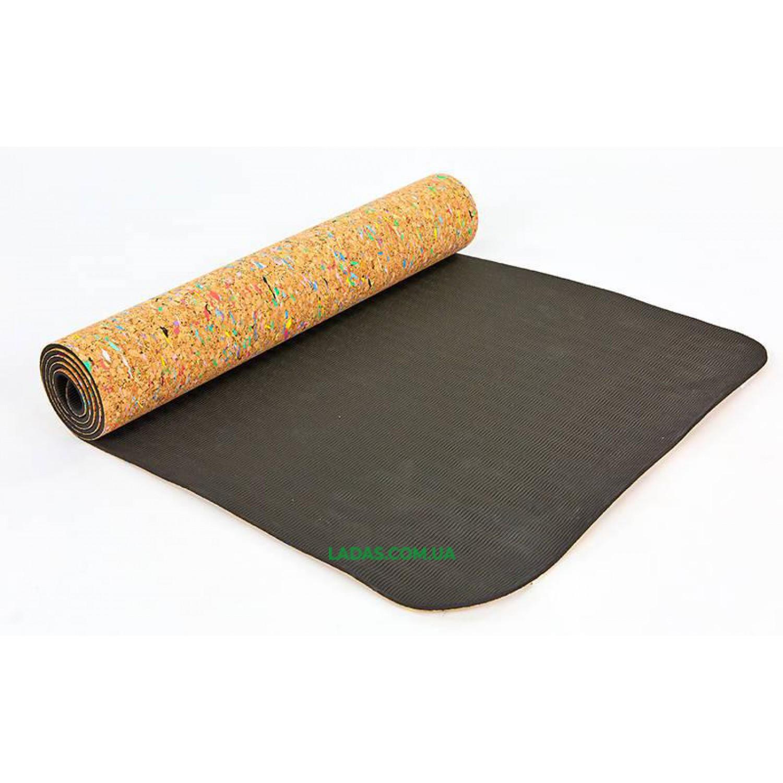 Коврик для йоги пробковый цветной 2-х слойный (1,73мx0,61мx5мм, пробковое дерево, TPE)