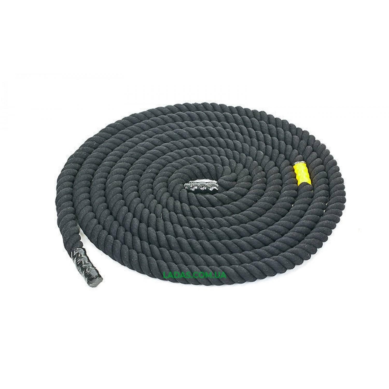 Канат для кроссфита черный COMBAT BATTLE ROPE UR (хлопок, l-12 м, d-4 см)