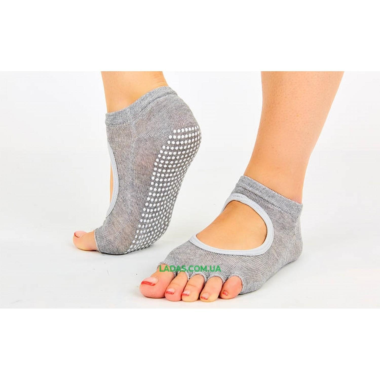 Носки для йоги и танцев без пальцев (полиэстер, хлопок, PVC, р-р 36-41)