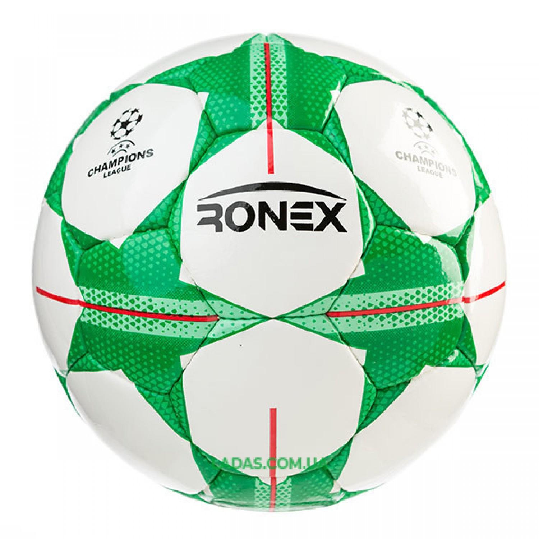 Мяч футбольный DXN Ronex FN1 (сшит вручную, бело-зеленый)