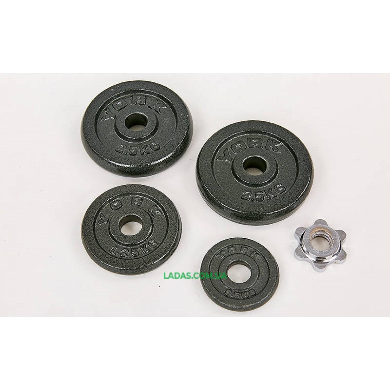 Гантели разборные (2шт) стальные 30кг (2 грифа l-30см)